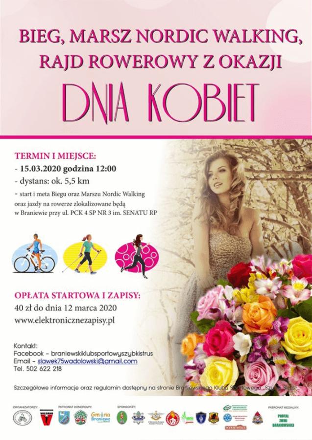 plakat imprezy sportowej w Braniewie z okazji Dnia Kobiet w