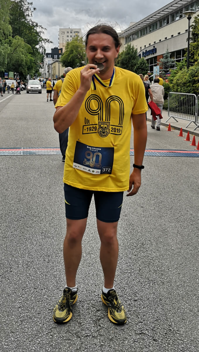 Janek Salewski po skończonym biegu