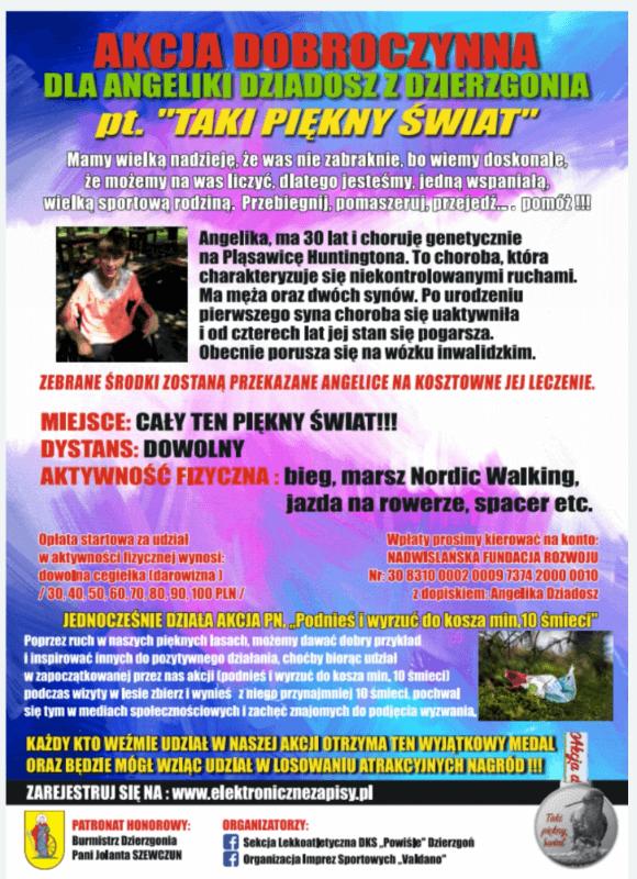 plakat biegu charytatywnego dla Angeliki Dziadosz